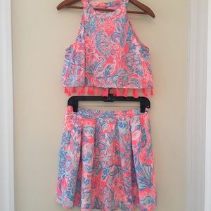 Lily Pulitzer Crop Top and Skirt Set